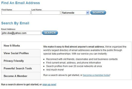 Starting a Search from an Email Address Is Just as Easy